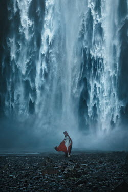 Terrence Drysdale WOMAN IN CLOAK BY LARGE WATERFALL Women