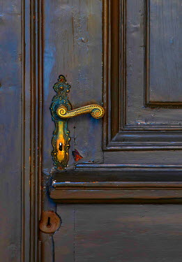 Jaroslaw Blaminsky ORNATE DOOR HANDLE ON OLD DOOR Building Detail