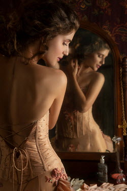 Michael Nelson HISTORICAL WOMAN IN BODICE REFLECTED IN MIRROR Women