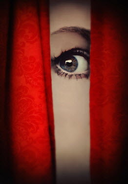 Lyn Randle CLOSE UP OF STARING FEMALE EYE BEHIND CURTAIN Women