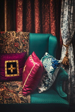 Evelina Kremsdorf Decorative cushions and turquoise sofa Miscellaneous Objects