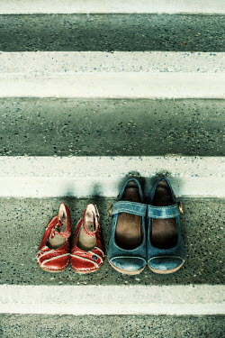Svetoslava Madarova Adult and children shoes on stairs Flowers