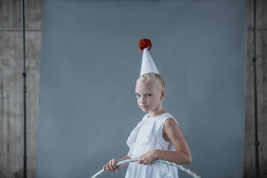 Dasha Pears Girl with party hat and hula hoop