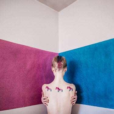 Dasha Pears Topless woman with painted horses on her back