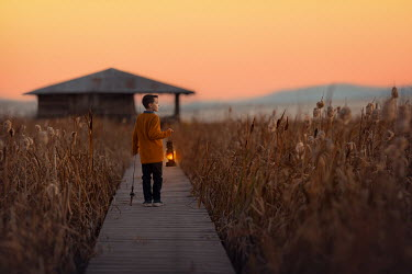 Lisa Holloway BOY WITH LANTERN AND FISHING ROD AT SUNSET Children