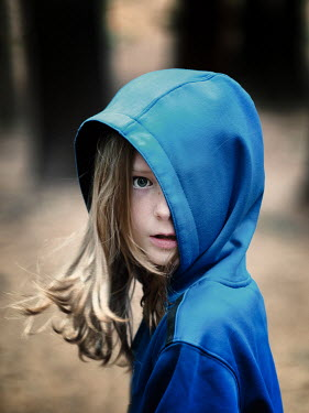 Elisabeth Ansley WORRIED GIRL IN HOOD TURNING AND WATCHING Children