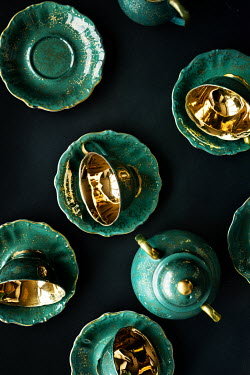 Maria Petkova green and gold tea set from above Miscellaneous Objects