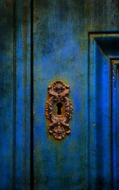 Jaroslaw Blaminsky RUSTY KEYHOLE IN OLD BLUE DOOR Building Detail