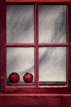 Evelina Kremsdorf TWO POMEGRANATES IN WINDOW OF OLD HOUSE Miscellaneous Objects