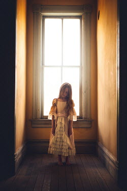 Lisa Holloway SAD HISTORICAL GIRL INDOORS BY WINDOW Children