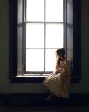 Lisa Holloway HISTORICAL GIRL SITTING INDOORS BY WINDOW Children