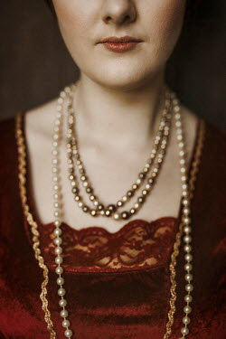 Shelley Richmond CLOSE UP OF TUDOR WOMAN WITH NECKLACES Women