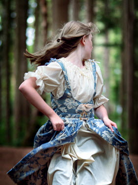 Elisabeth Ansley SCARED HISTORICAL GIRL RUNNING IN FOREST Children