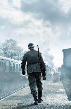 CollaborationJS ww2 soldier on train platform Men