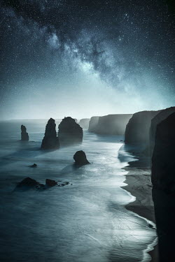 Evelina Kremsdorf Starry sky and cliffs by the sea Seascapes/Beaches