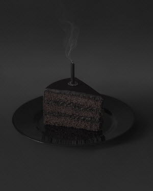 Ranat Renee Black piece of cake and candle Miscellaneous Objects