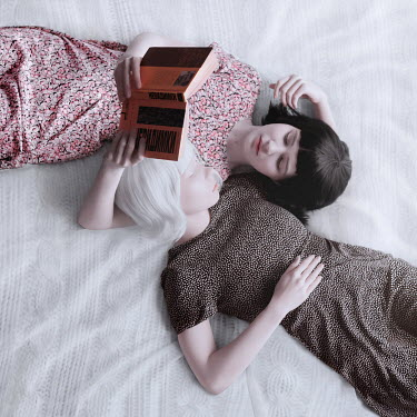 Ranat Renee Two woman lying down and reading Women