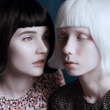 Ranat Renee Girl staring at girl with white hair Women