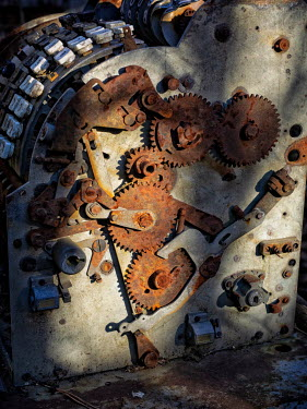 Brian Law Metal rusty cogs on machine Miscellaneous Objects