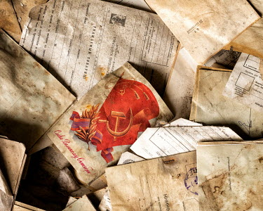 Brian Law Old documents and papers and communist flag Miscellaneous Objects