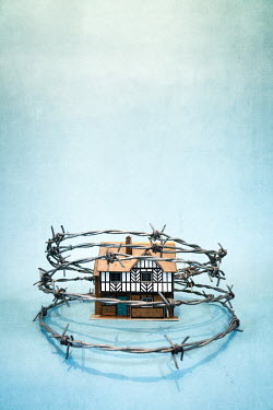 Peter Chadwick Model house surrounded by barbed wire Miscellaneous Objects