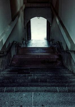 Jaroslaw Blaminsky Dark stairway onto street Interiors/Rooms