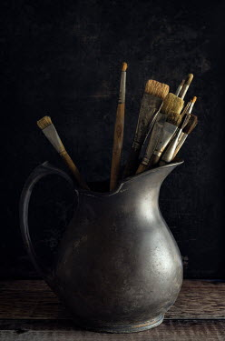 Amy Weiss Paint brushes in metal jug Miscellaneous Objects