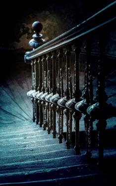 Jaroslaw Blaminsky Dark wooden stairway from above Interiors/Rooms