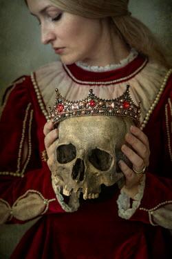 Jaroslaw Blaminsky Historical woman holding skull and crown Women