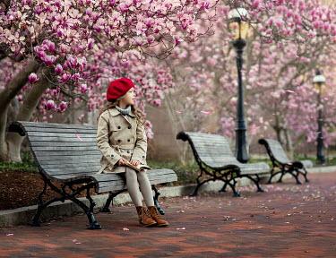 Lilia Alvarado Girl sat below blossom trees Children