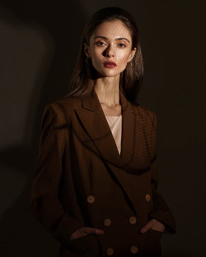 Alexey Kazantsev Woman posing in suit jacket Women