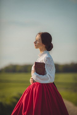 Joanna Czogala HISTORICAL WOMAN IN SUMMERY COUNTRYSIDE WITH BOOK Women
