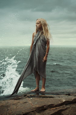 Robin Macmillan YOUNG BLONDE GIRL ON ROCK BY SEA Children