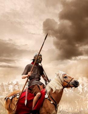 Stephen Mulcahey ROMAN SOLDIER ON HORSE IN BATTLEFIELD Groups/Crowds