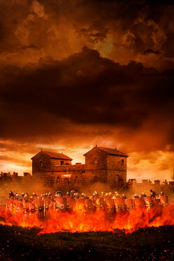 Stephen Mulcahey ROMAN SOLDIERS BY FORT WITH FIRE Groups/Crowds