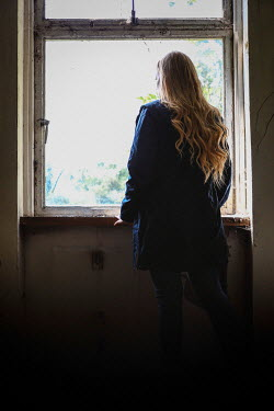 Shelley Richmond GIRL WATCHING AT WINDOW OF DERELICT HOUSE Women