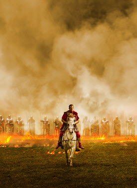 CollaborationJS ROMAN EMPEROR AND ARMY IN FIELD WITH FLAMES Groups/Crowds