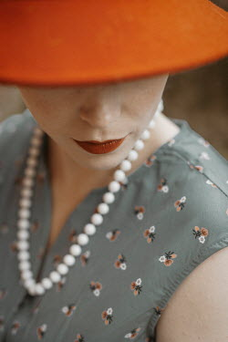 Shelley Richmond CLOSE UP OF RETRO WOMAN IN HAT Women