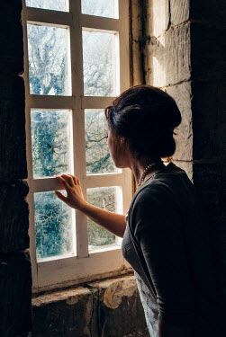 Helen Mayer WOMAN LOOKING OUT OF WINDOW Women