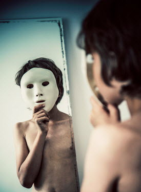 Katya Evdokimova Boy with mask in mirror Children