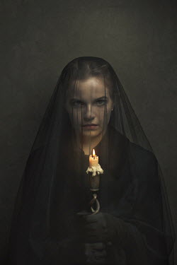 Robin Macmillan Young woman in black veil with candle Women