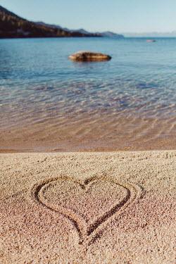Susan O'Connor HEART DRAWN ON SANDY BEACH Seascapes/Beaches