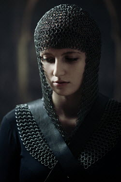 Magdalena Russocka close up of historical woman in chainmail inside