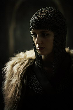 Magdalena Russocka close up of historical woman in chainmail and fur cape insiade