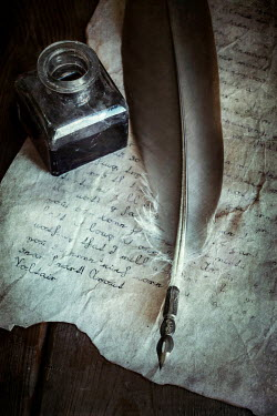 Jaroslaw Blaminsky QUILL AND INK WELL ON OLD LETTER Miscellaneous Objects