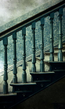 Jaroslaw Blaminsky CLOSE UP OF OLD TURQUOISE STAIRCASE Stairs/Steps