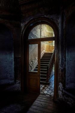 Jaroslaw Blaminsky EERIE HALL AND STAIRCASE IN OLD BUILDING Stairs/Steps