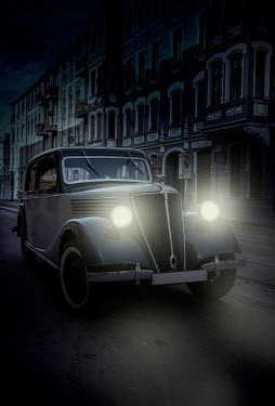 Jaroslaw Blaminsky CLASSIC CAR IN URBAN STREET AT NIGHT Cars