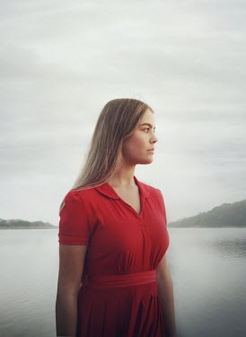 Mark Owen SERIOUS GIRL IN RED BY CALM LAKE Women