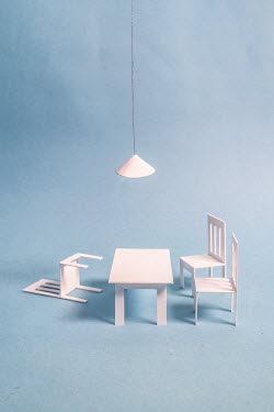 Peter Chadwick MINIATURE CARDBOARD CHAIRS AND TABLE Miscellaneous Objects